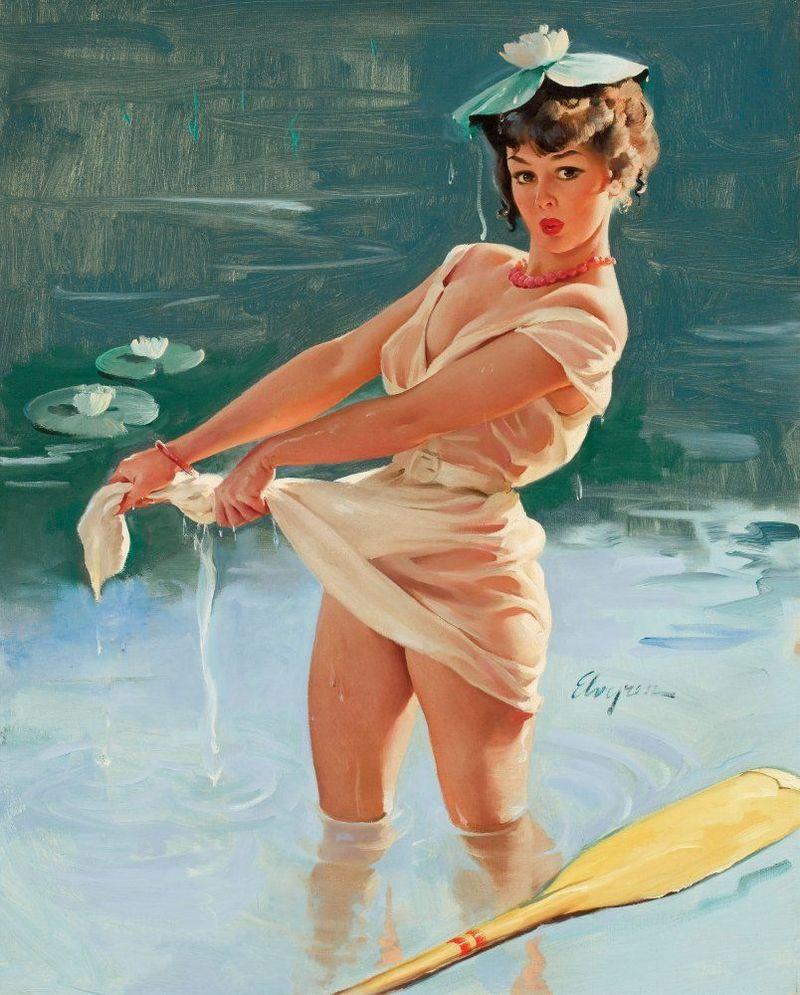 Девушка на пруду 800x995 133KB Pin-up река Рисованные девушки