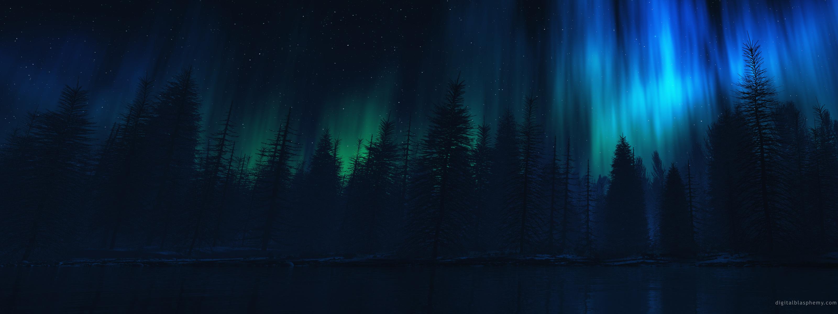 Полярное сияние над хвойным лесом 3200x1200 1034KB Пейзажи полярное сияние