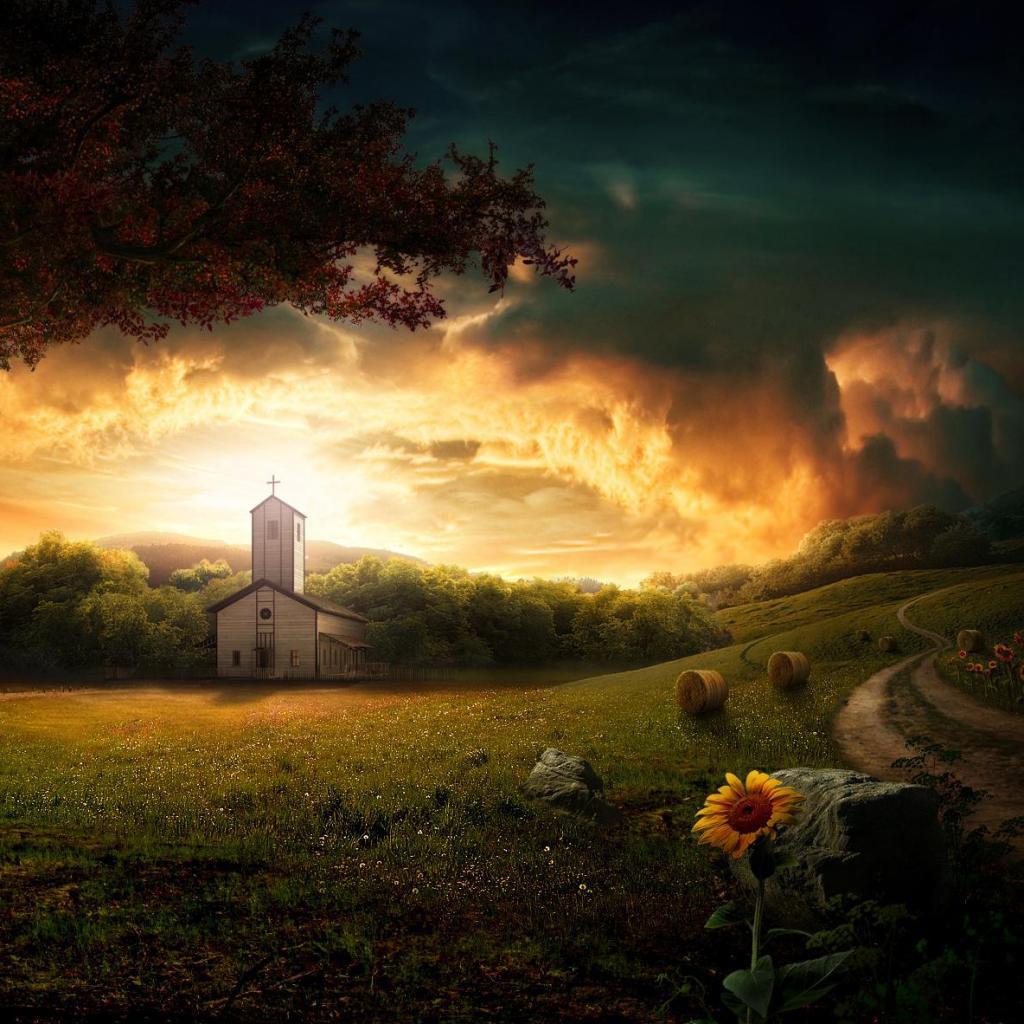 Маленькая сельская церквушка 1024x1024 241KB Пейзажи Церкви