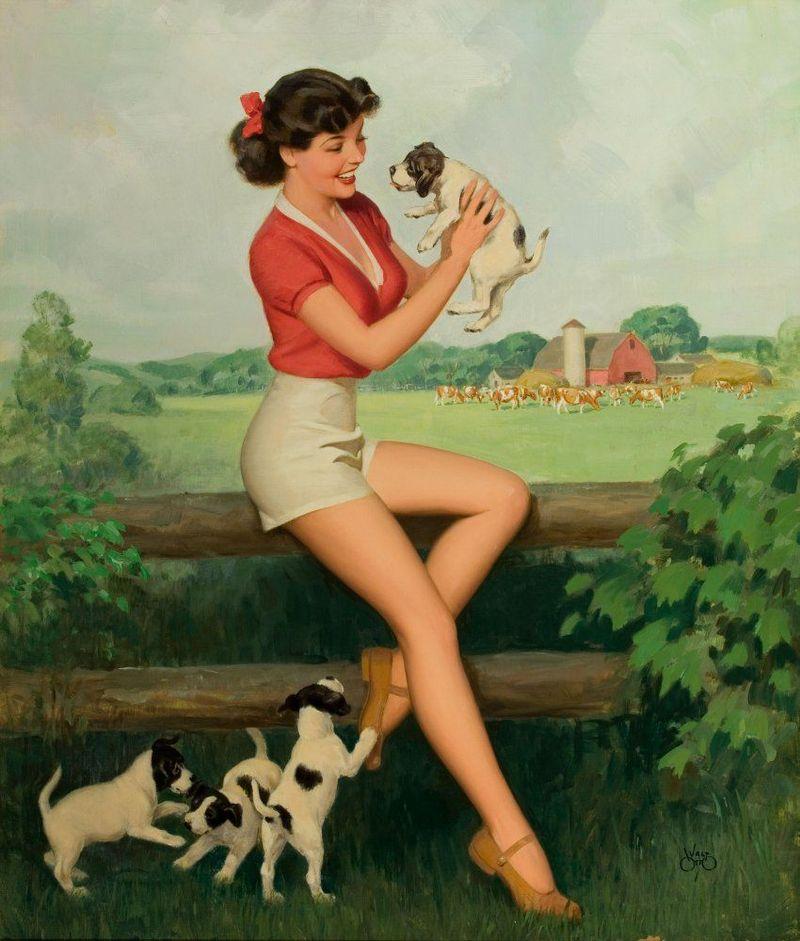 Девушка с щенками 800x941 107KB Pin-up Собачки