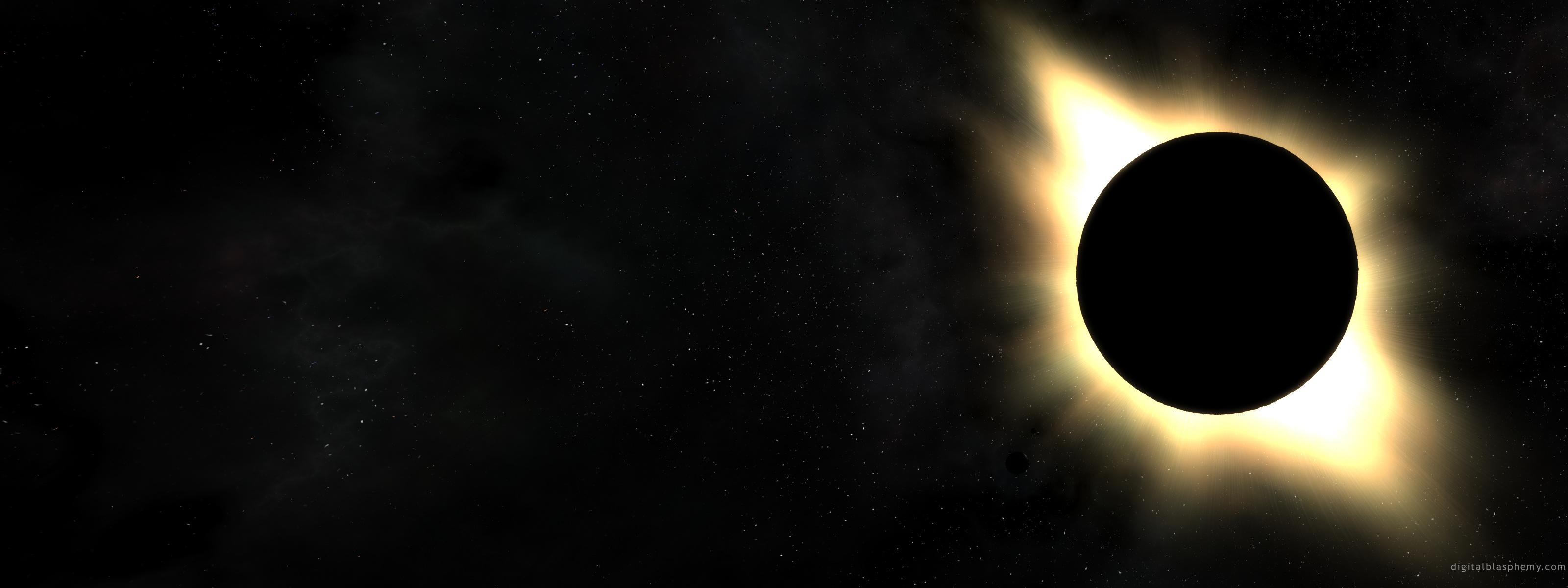Солнечное затмение на 2 монитора 3200x1200 583KB Космос