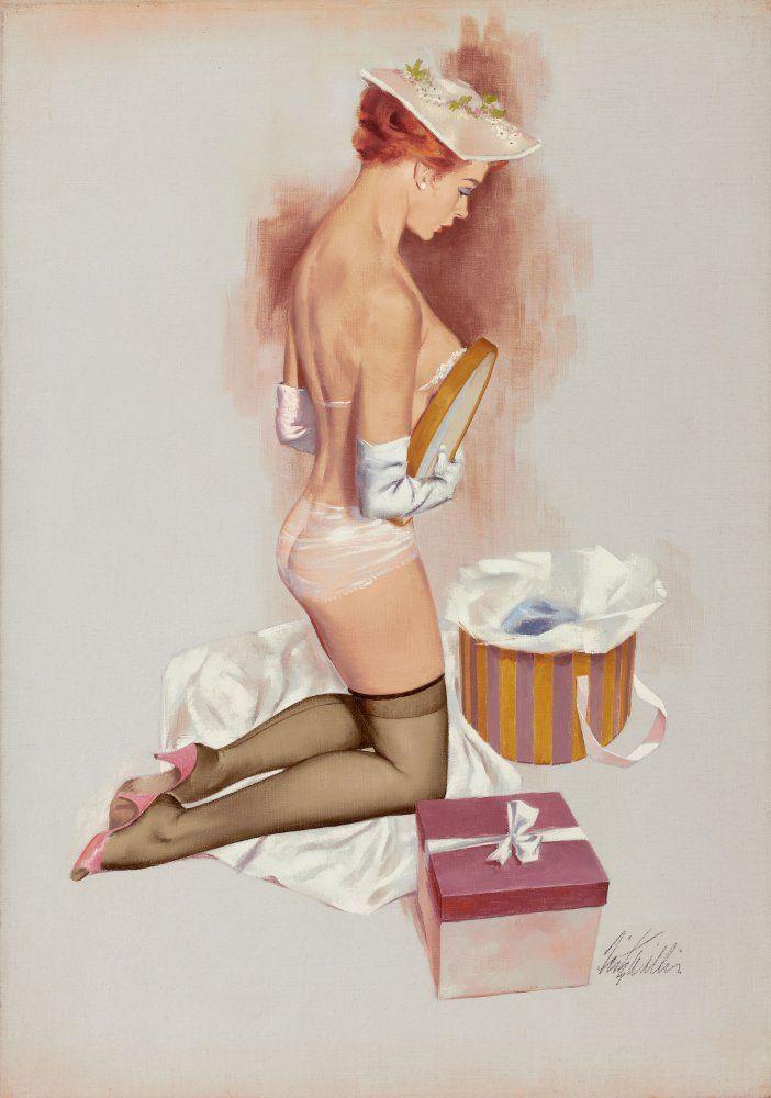 Примерка нижнего белья 702x1000 79KB Pin-up Рисованная эротика Эротика