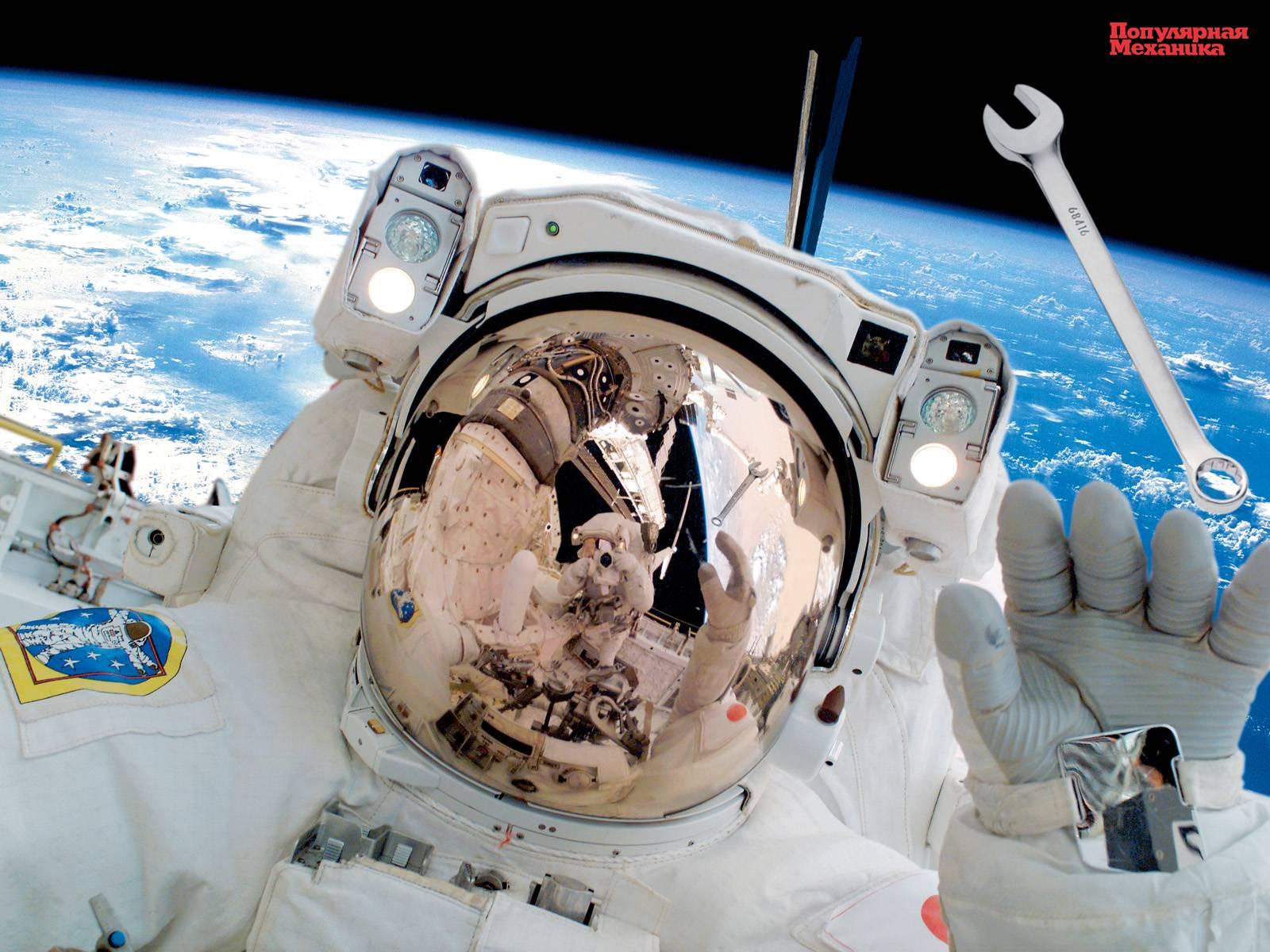 Космонавт в открытом космосе 1600x1200 224KB Космос Популярная механика